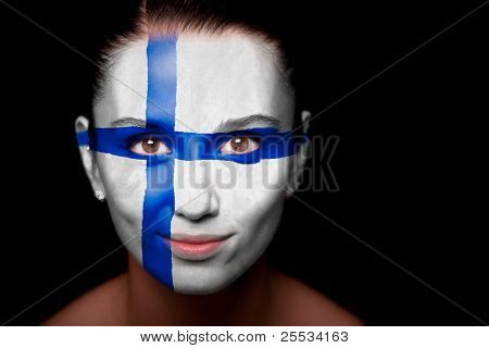 Portrait of a woman with the flag of the Finland