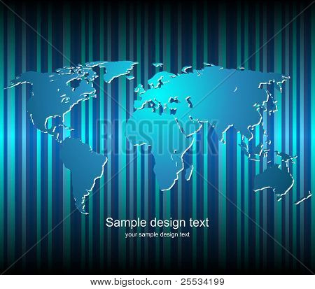 World map vector background. Color blank templete.