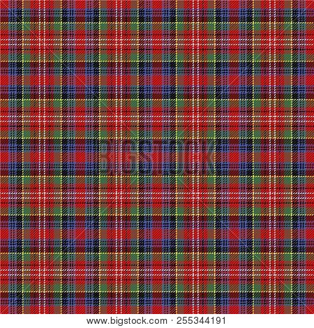 Poster Of Caledonia Tartan Pattern Scottish Cage Checkered Background Traditional Ornamen