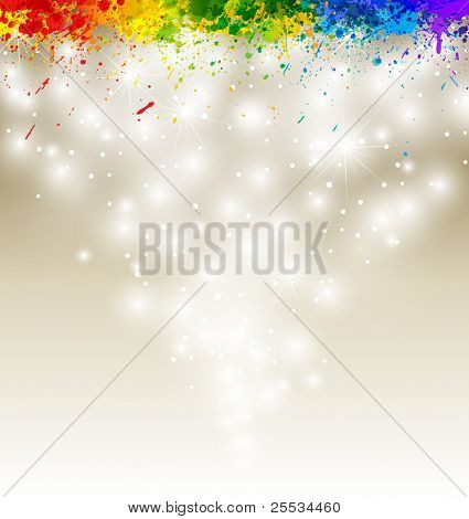 Color paint splashes artwork. Snow vector background eps10.