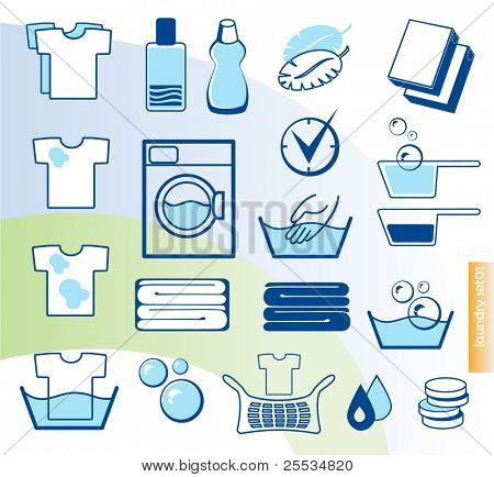 Laundry vector icons set
