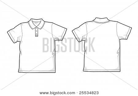 White polo-shirt - back and front