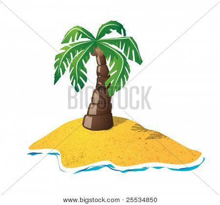 Cute palmtree on small island