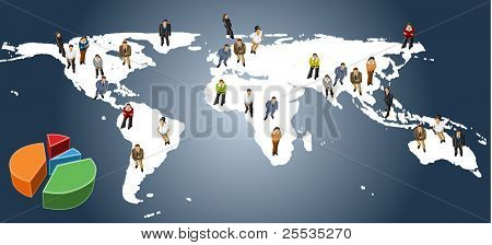 group of business people over earth map
