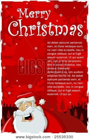 Red Christmas background with Santa-claus