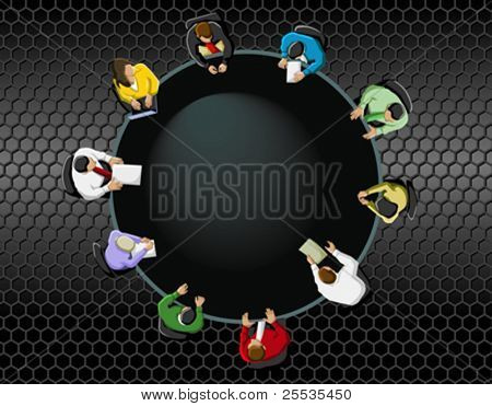 Group of business people working in office table