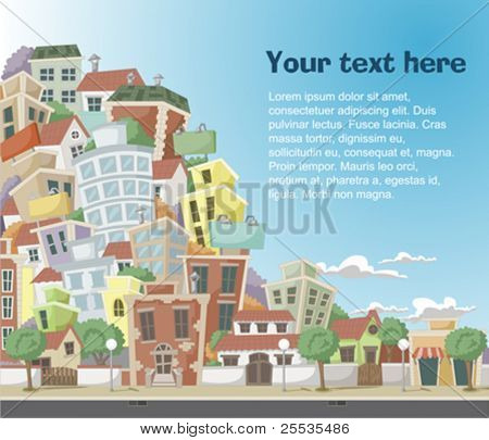 Vector illustration of a city with colorful trees and buildings