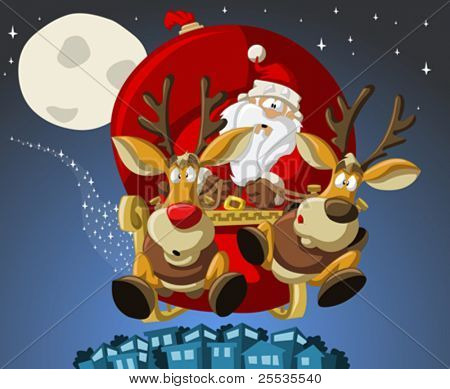 Santa-Claus on sleigh with reindeer