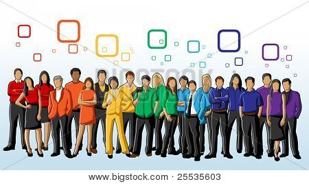 Group of Colorful People. Rainbow colors.