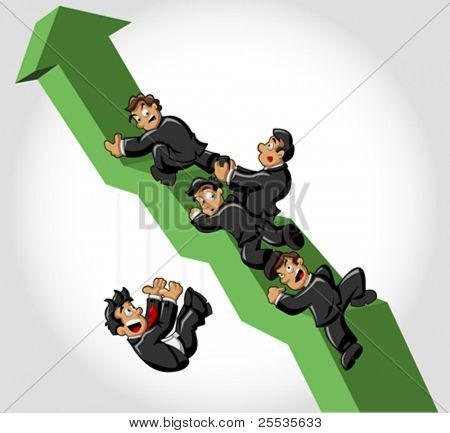 Businessmen climbing green arrow