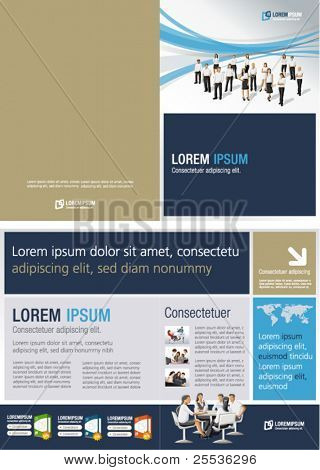 Blue and gold template for advertising brochure with business people