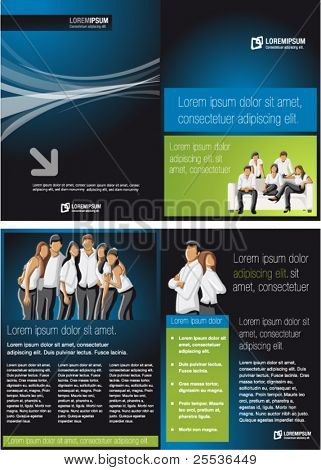 Blue and green template for advertising brochure with people