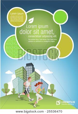 Plantilla para el folleto de publicidad con par de jogging en el Parque de la ciudad