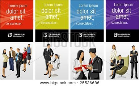 Colorful templates for advertising brochure with business people