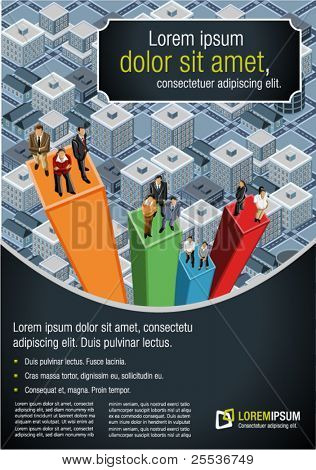 Template for advertising brochure with business people over chart on the city