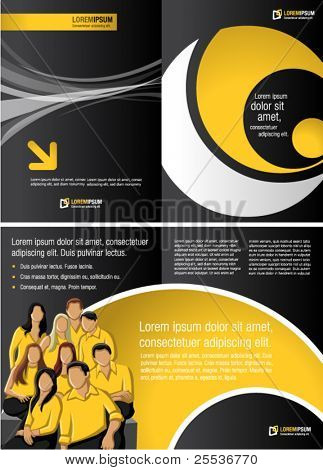 Black and yellow template for advertising brochure with business people