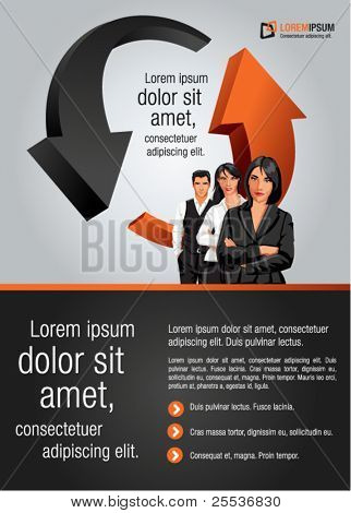 Red and black arrows template for advertising brochure with business people