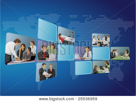 Blue template with business people on screens