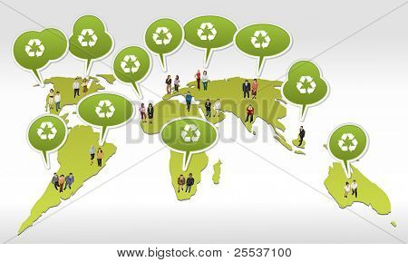 People over world map with recycling symbol on green speech balloon.