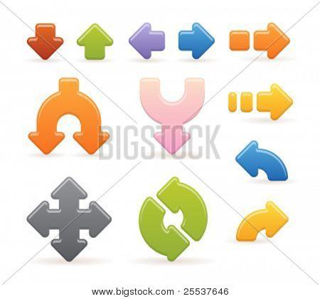Set of glossy web arrows.