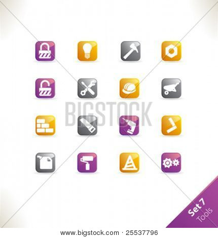 Vector beautiful icon set. Part 7 - Tools