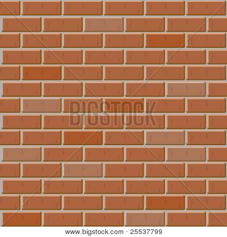 Vector brick wall made of red bricks. Seamless texture.