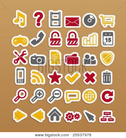 Vector web icons on stickers