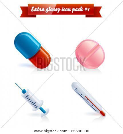Iconos de medicina extra brillante