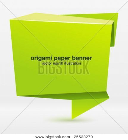 Origami paper banner for your design. Vector.