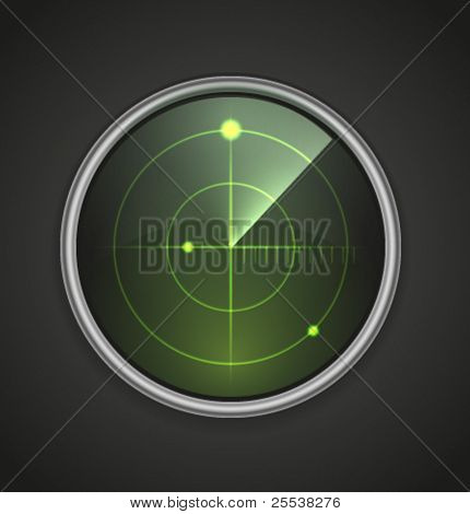 Realistic vector radar icon