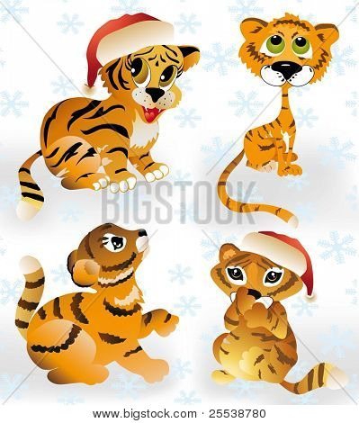 vector tigers set