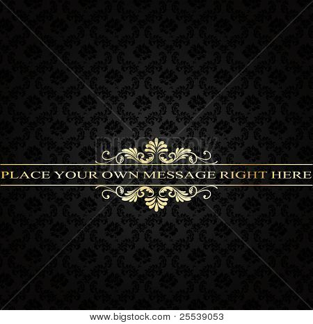 golden vintage frame on damask background