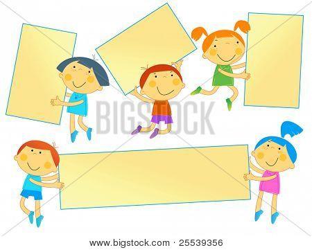 Children school.cheerful, stylish children in motion