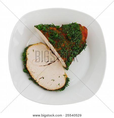 Sliced Roasted Turkey Breast On Plate