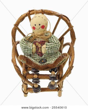 Vintage Button Rag Doll  Wicker Chair