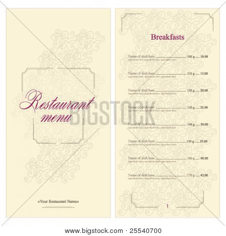 Vektor. Restaurant Menü voll design
