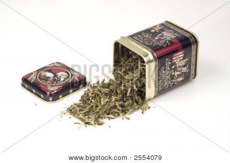 Green Tea Leaves From A Tin Can