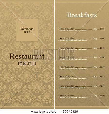 Diseño completo del menú del restaurante