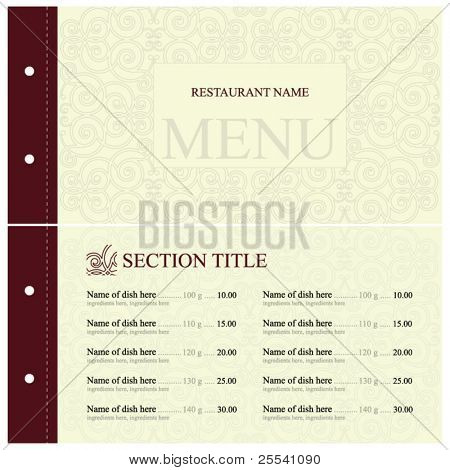 Vector. Restaurant menu design. Full design concept