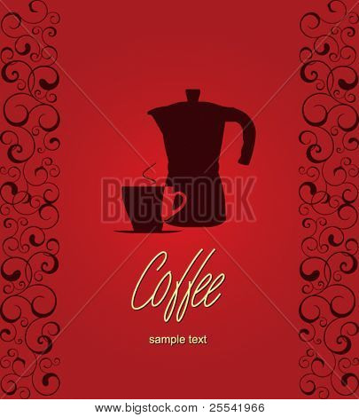 The concept of coffeehouse menu. With coffee pot and cup