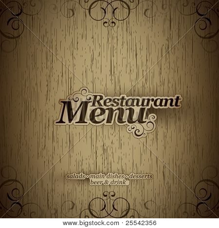 Vector. Restaurant menu design on a wooden texture