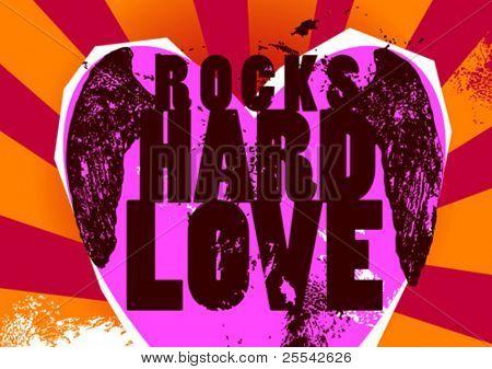 Cartel de rocas-duro-Love. Ilustración del vector.