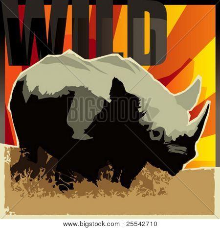 Rhinoceros. Vector illustration.