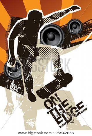 Poster with skateboarder. Vector illustration.