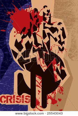 Financial crisis poster. Vector illustration.
