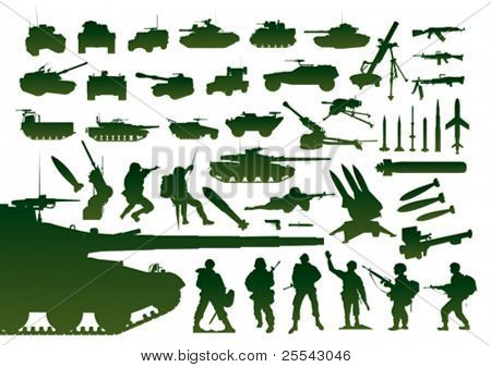 Green military silhouettes. Vector illustration.
