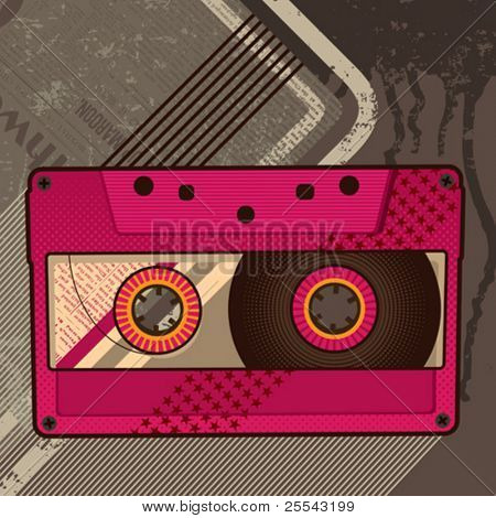 Cassette retro background. Vector illustration.