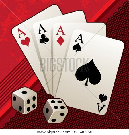 Playing cards with dices. Vector illustration.