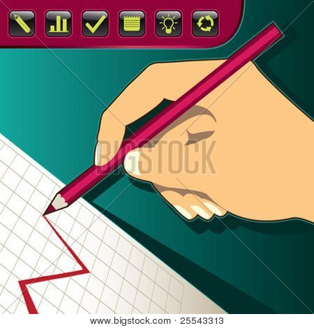 Hand drawing a diagram. Vector illustration.