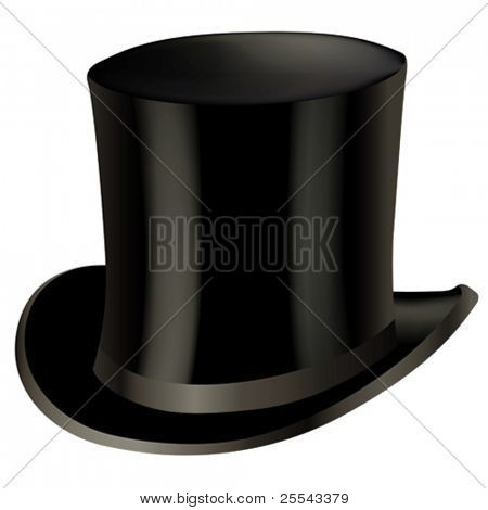 Top hat isolated on white. Vector illustration.